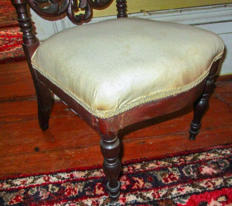 19th c. American Mahogany Rococo Revival Child's Chair with Tracery Back For Sale 5