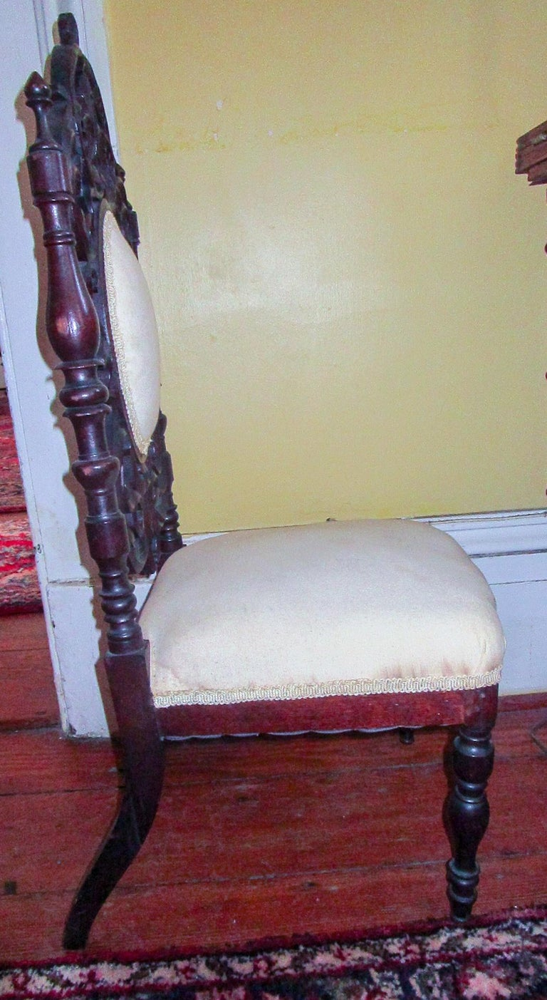 Carved 19th c. American Mahogany Rococo Revival Child's Chair with Tracery Back For Sale