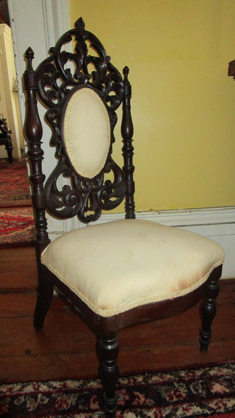 Mid-19th Century 19th c. American Mahogany Rococo Revival Child's Chair with Tracery Back For Sale