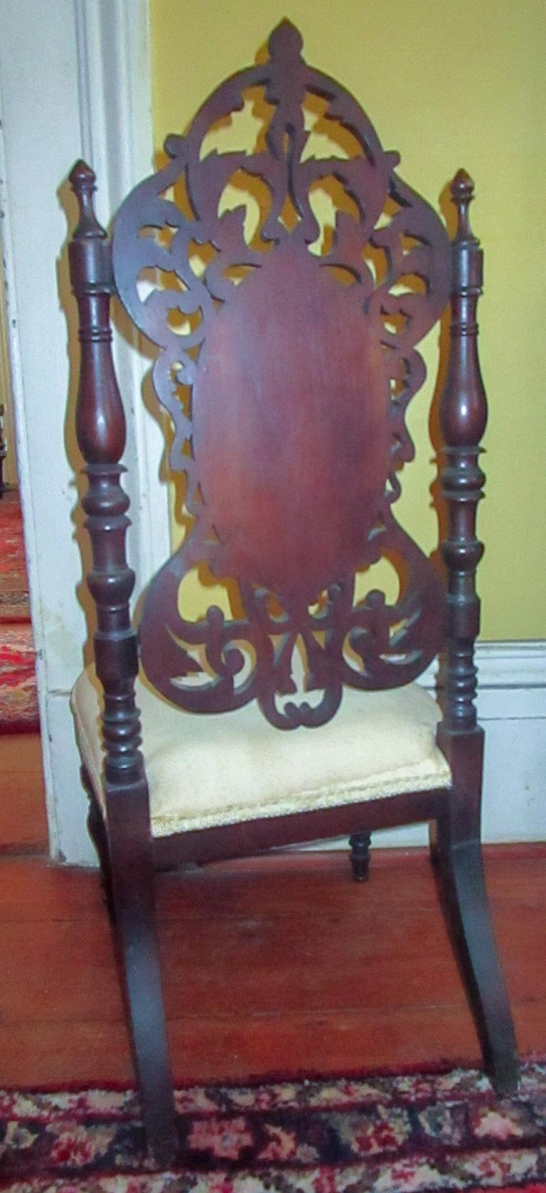 19th c. American Mahogany Rococo Revival Child's Chair with Tracery Back For Sale 4