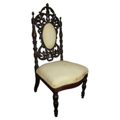 19th c. American Mahogany Rococo Revival Child's Chair with Tracery Back