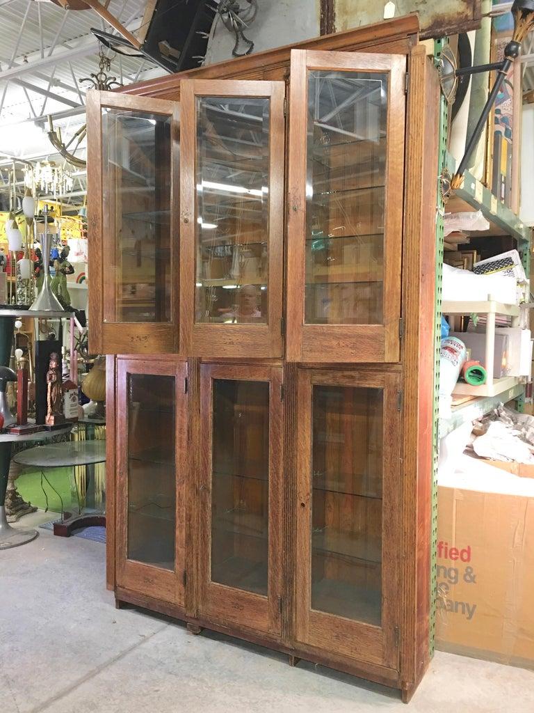 19th Century American Oak & Glass Six-Door Cupboard For Sale 4