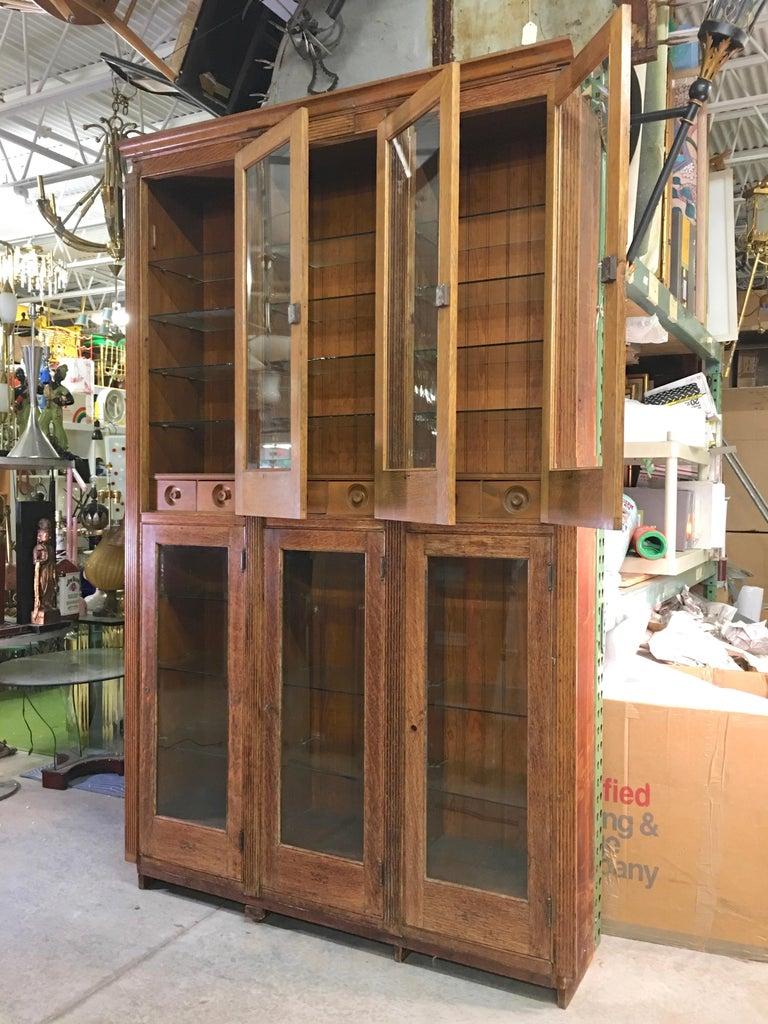 19th Century American Oak & Glass Six-Door Cupboard For Sale 5