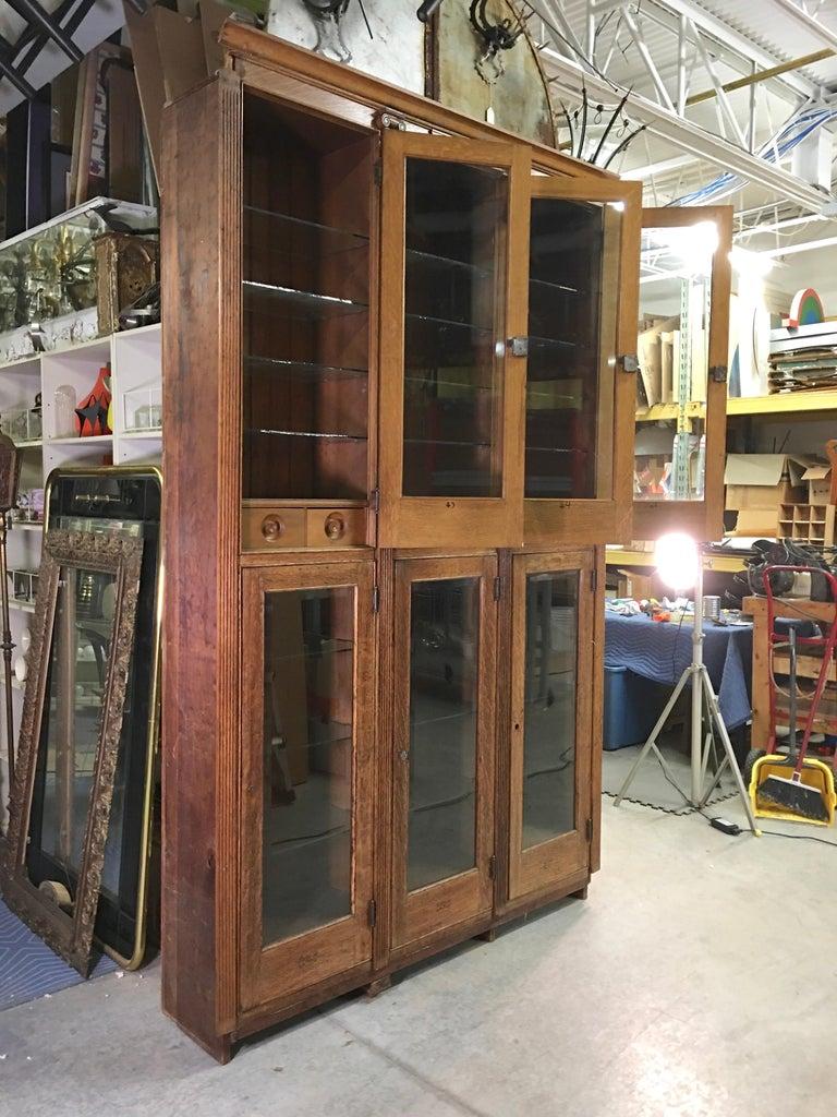 19th Century American Oak & Glass Six-Door Cupboard For Sale 6