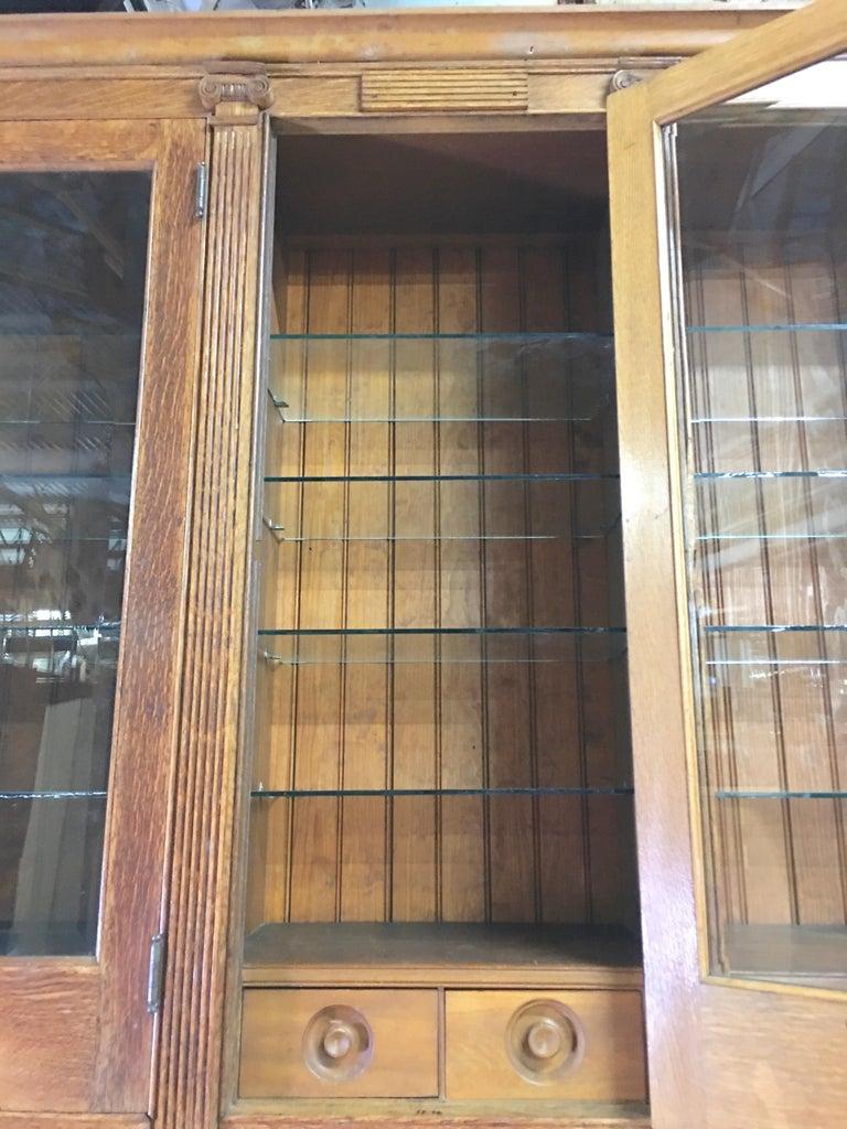 19th Century American Oak & Glass Six-Door Cupboard For Sale 7