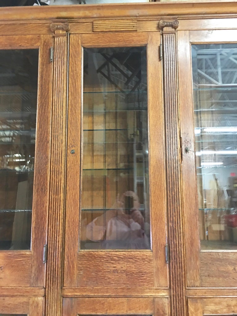 19th Century American Oak & Glass Six-Door Cupboard For Sale 8