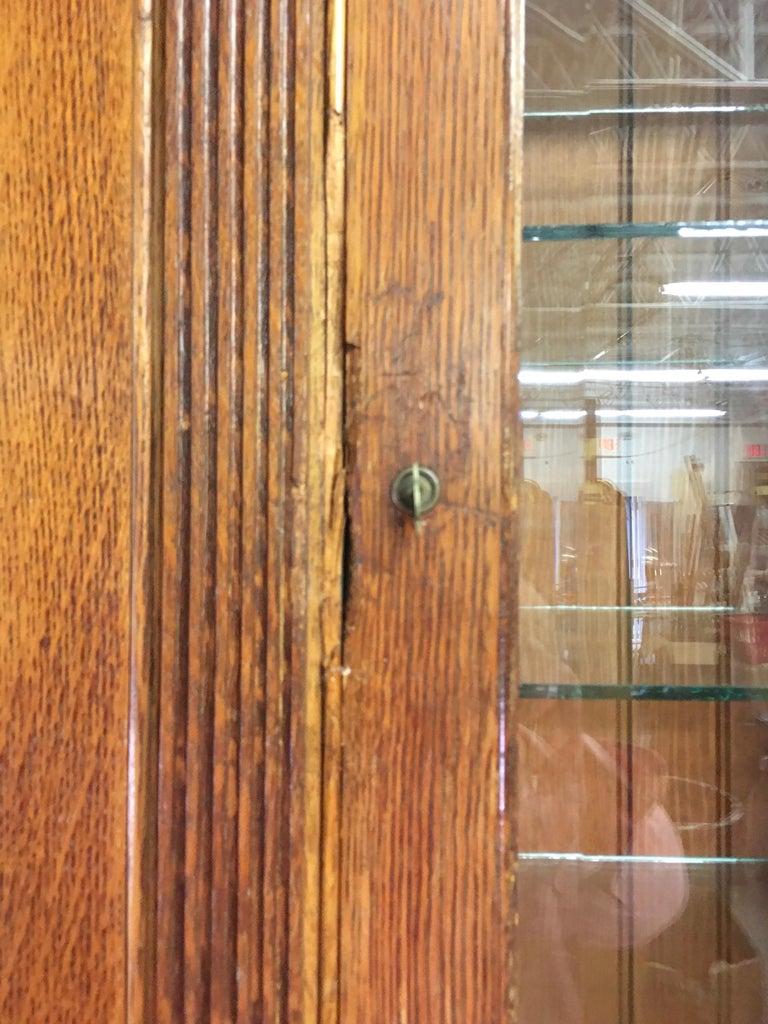 19th Century American Oak & Glass Six-Door Cupboard For Sale 9