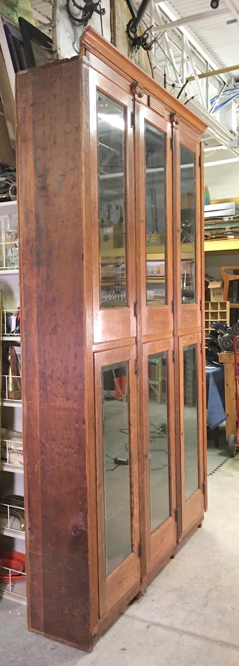 19th Century American Oak & Glass Six-Door Cupboard For Sale 10