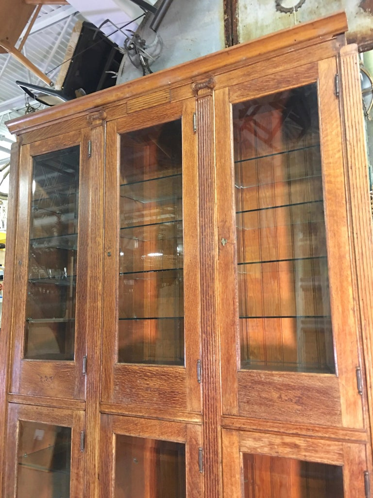 19th Century American Oak & Glass Six-Door Cupboard For Sale 11