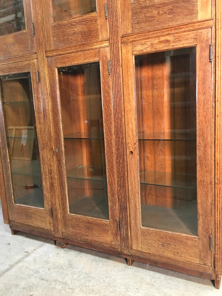 19th Century American Oak & Glass Six-Door Cupboard For Sale 12