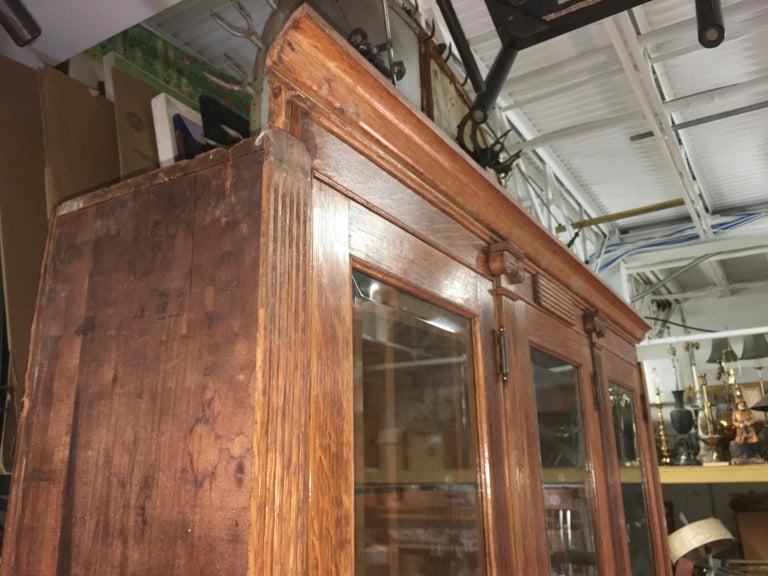 19th Century American Oak & Glass Six-Door Cupboard For Sale 13
