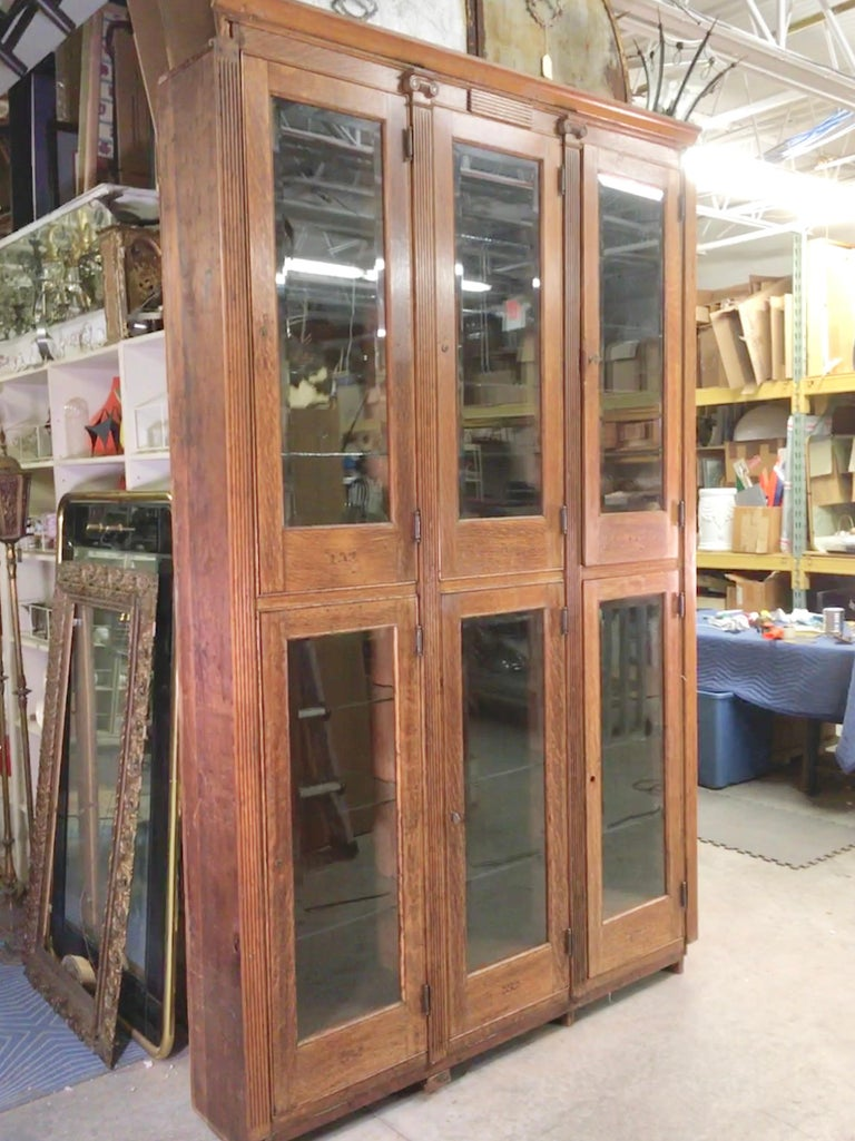 This unit was salvaged from a men's fraternal organization building on the north shore of Boston (Masons, Odd Fellows, Elks,?) where it was a built-in architectural feature and may have been used as some sort of locker as each section is