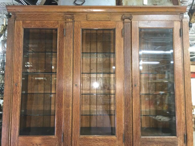 Edwardian 19th Century American Oak & Glass Six-Door Cupboard For Sale