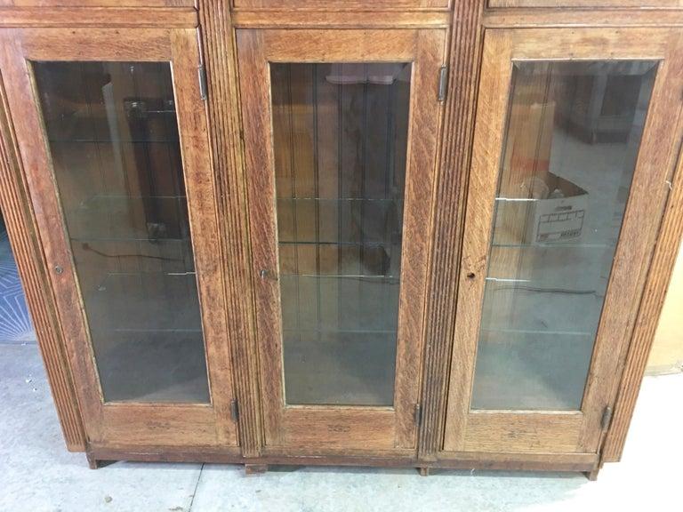 Beveled 19th Century American Oak & Glass Six-Door Cupboard For Sale