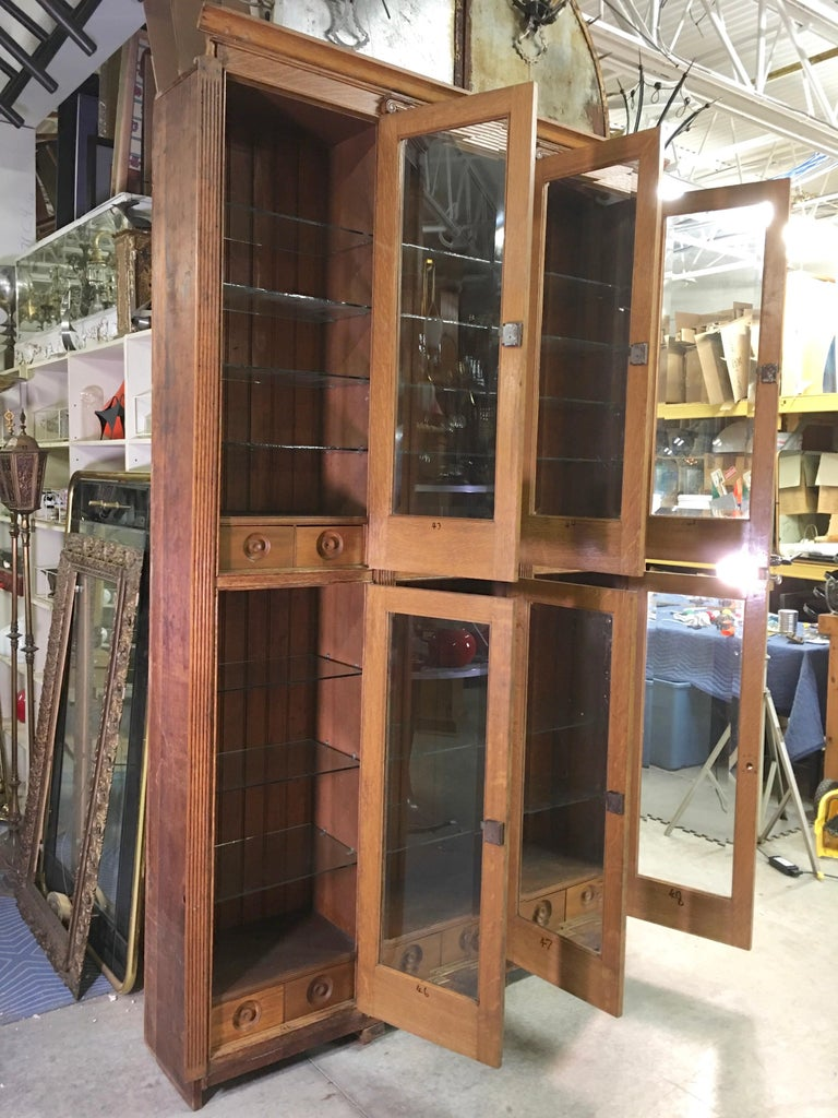 19th Century American Oak & Glass Six-Door Cupboard In Distressed Condition For Sale In Hingham, MA