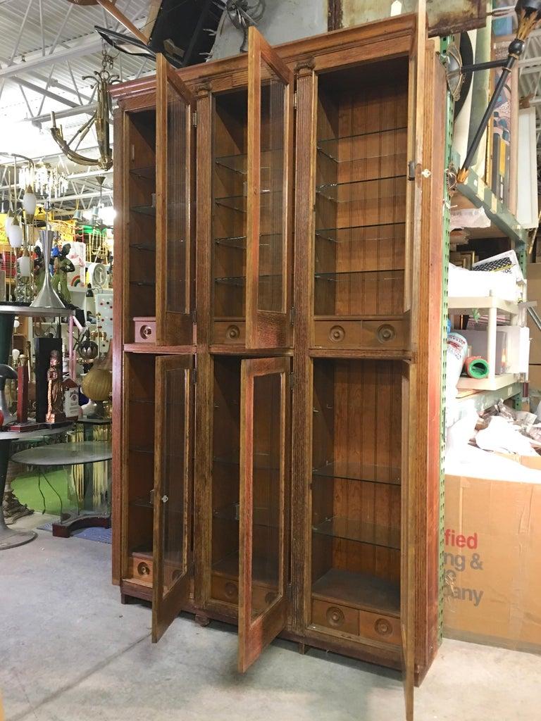 Late 19th Century 19th Century American Oak & Glass Six-Door Cupboard For Sale