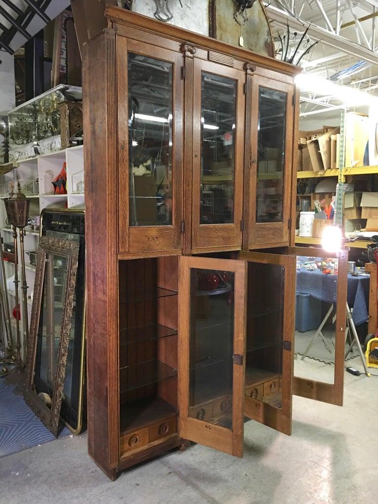 19th Century American Oak & Glass Six-Door Cupboard For Sale 2
