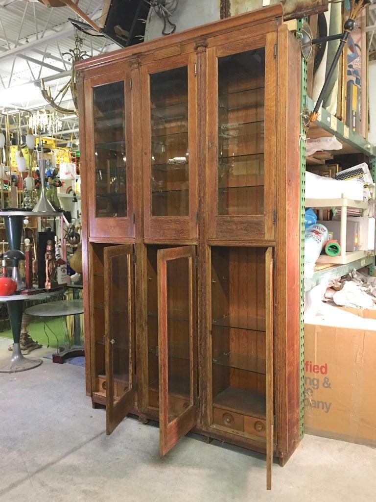 19th Century American Oak & Glass Six-Door Cupboard For Sale 3