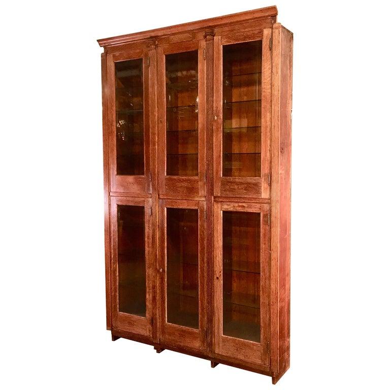 19th Century American Oak & Glass Six-Door Cupboard For Sale