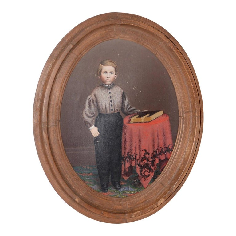 Hand-Painted 19th Century American Oil Portrait of a Young Man with His Bible For Sale