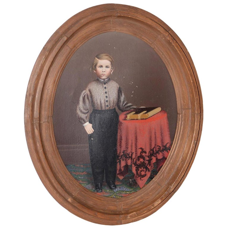 19th Century American Oil Portrait of a Young Man with His Bible For Sale
