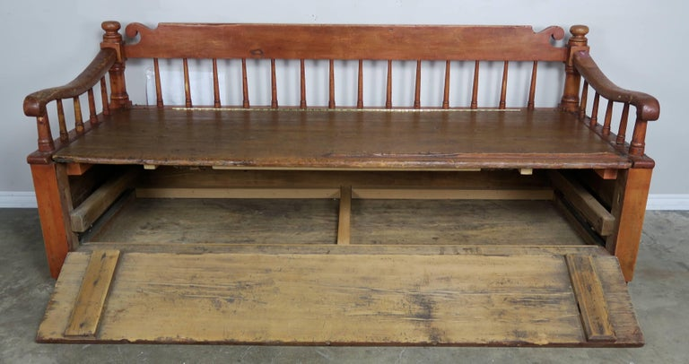 19th Century American Painted Storage Bench with Down Cushion In Distressed Condition For Sale In Los Angeles, CA