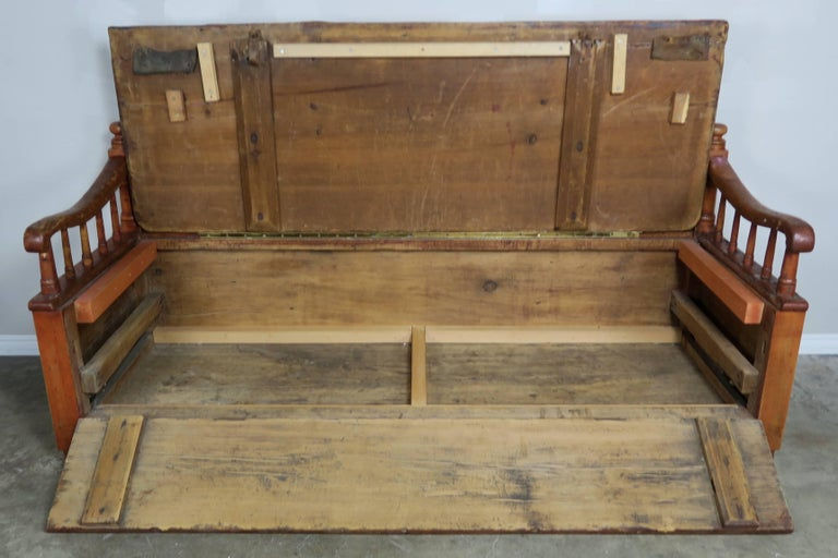 Pine 19th Century American Painted Storage Bench with Down Cushion For Sale