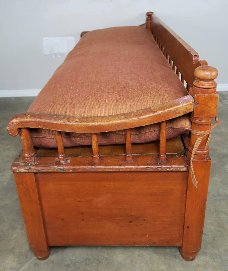 19th Century American Painted Storage Bench with Down Cushion For Sale 1