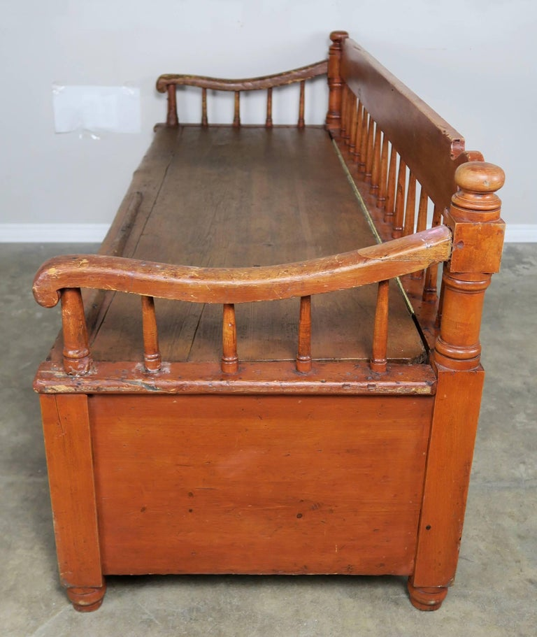 19th Century American Painted Storage Bench with Down Cushion For Sale 3