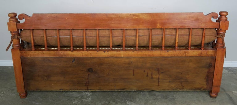 19th Century American Painted Storage Bench with Down Cushion For Sale 4