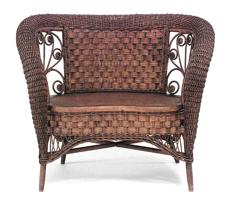19th C. American Small Wicker Loveseat, Attributed To