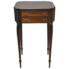 Antique American Sheraton Tall Tapered Leg Burl Wood Nightstand Table