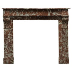 19th Century Antique Fireplace Mantel in Red Marble