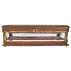 19th Century Antique French Glass and Leather Jewelry Box