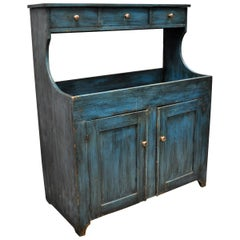 Antique Primitive Country Blue Distress Painted Stepback Cupboard Cabinet
