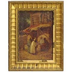 19th Century Arabian Market Scene Sketch Oil on Board