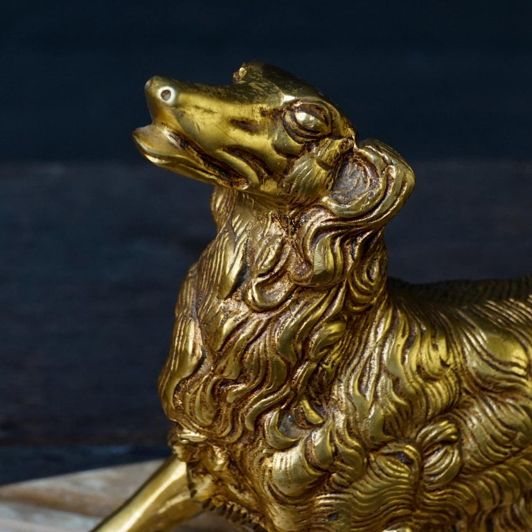 19th C. Art Deco French Brass Borzoi or Barzoi Dogs on 'Cafe au Lait' Marble For Sale 10