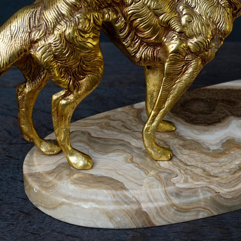 19th C. Art Deco French Brass Borzoi or Barzoi Dogs on 'Cafe au Lait' Marble For Sale 11