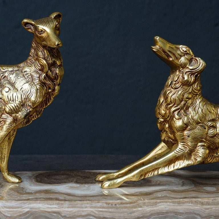 19th C. Art Deco French Brass Borzoi or Barzoi Dogs on 'Cafe au Lait' Marble For Sale 1