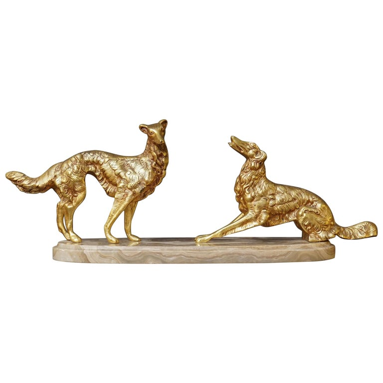 19th C. Art Deco French Brass Borzoi or Barzoi Dogs on 'Cafe au Lait' Marble For Sale
