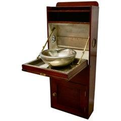 19th Century Art Deco Pullman Style Mahogany and Steel Ships Fold Away Sink