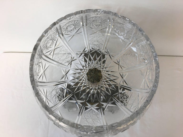 European 19th Century Art Nouveau Large Crystal and Bronze Compote Bowl For Sale