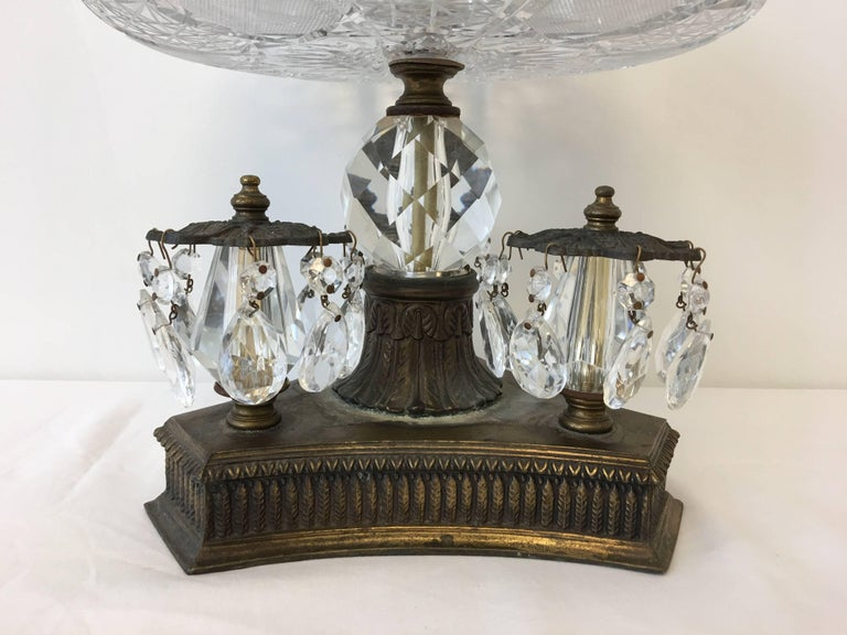19th Century Art Nouveau Large Crystal and Bronze Compote Bowl In Good Condition For Sale In Richmond, VA