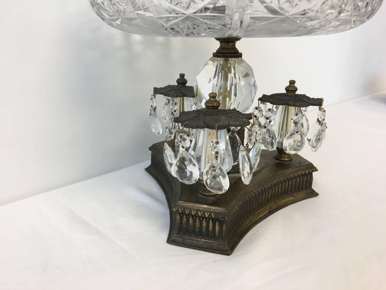 19th Century Art Nouveau Large Crystal and Bronze Compote Bowl For Sale 1