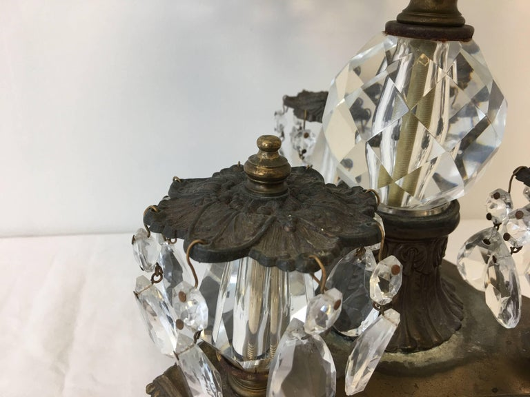 19th Century Art Nouveau Large Crystal and Bronze Compote Bowl For Sale 2