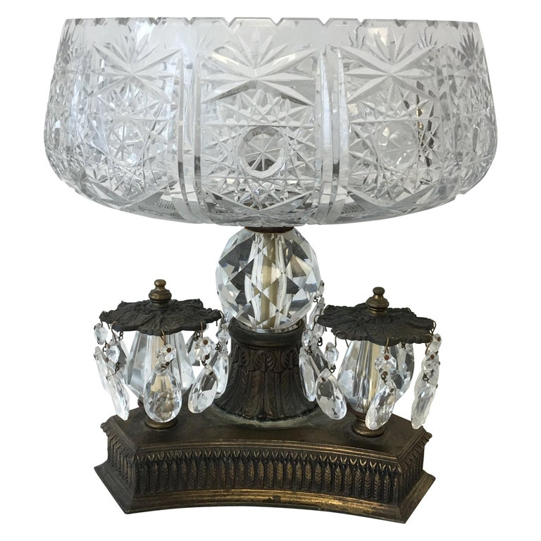 19th Century Art Nouveau Large Crystal and Bronze Compote Bowl For Sale