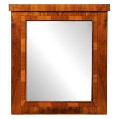 19th C Austrian Biedermeier Mirror w/Original Glass & Walnut Veneer, 4 Ft Tall