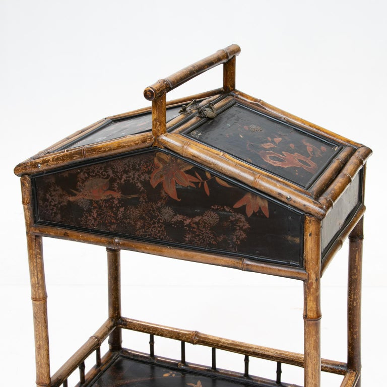 French 19th Century Bamboo and Chinoiserie Sewing Stand For Sale