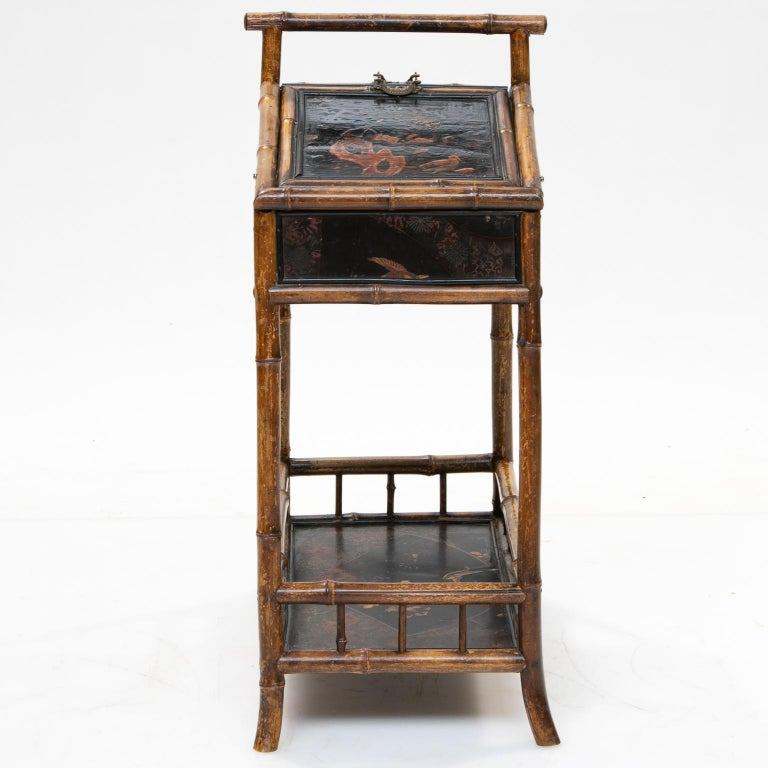 Woodwork 19th Century Bamboo and Chinoiserie Sewing Stand For Sale
