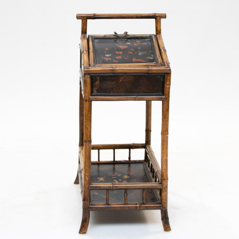 19th Century Bamboo and Chinoiserie Sewing Stand For Sale 1
